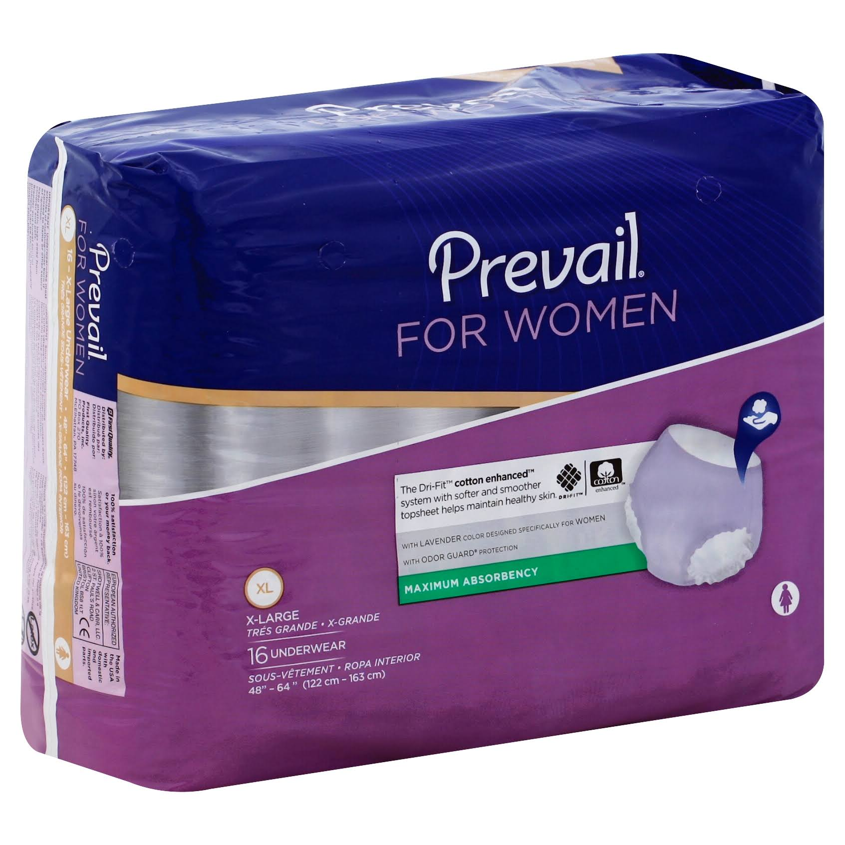 Prevail Heavy Absorbency Underwear for Women - XLarge, x16