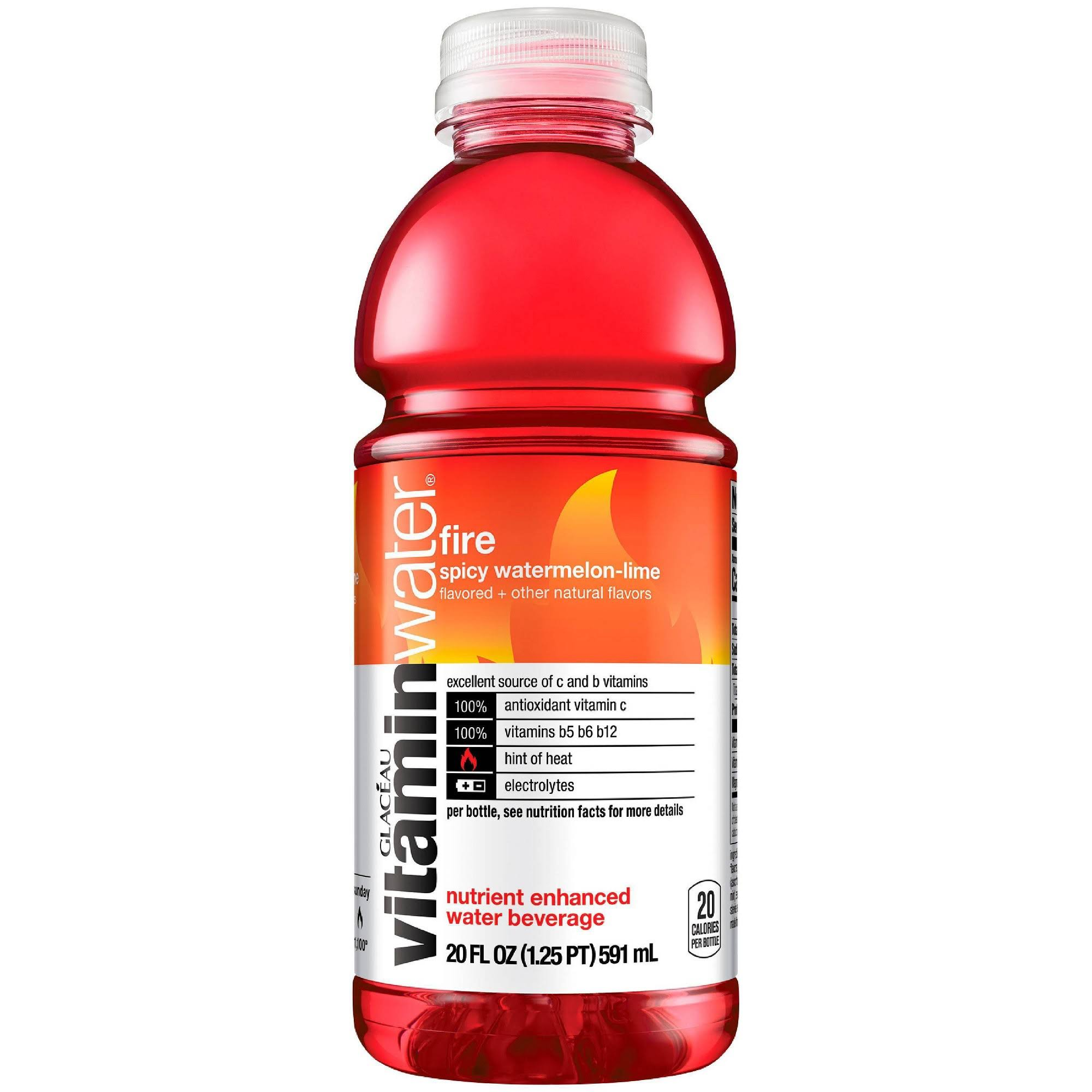 Glaceau Vitamin Water, Fire, Spicy Watermelon-Lime - 20 fl oz