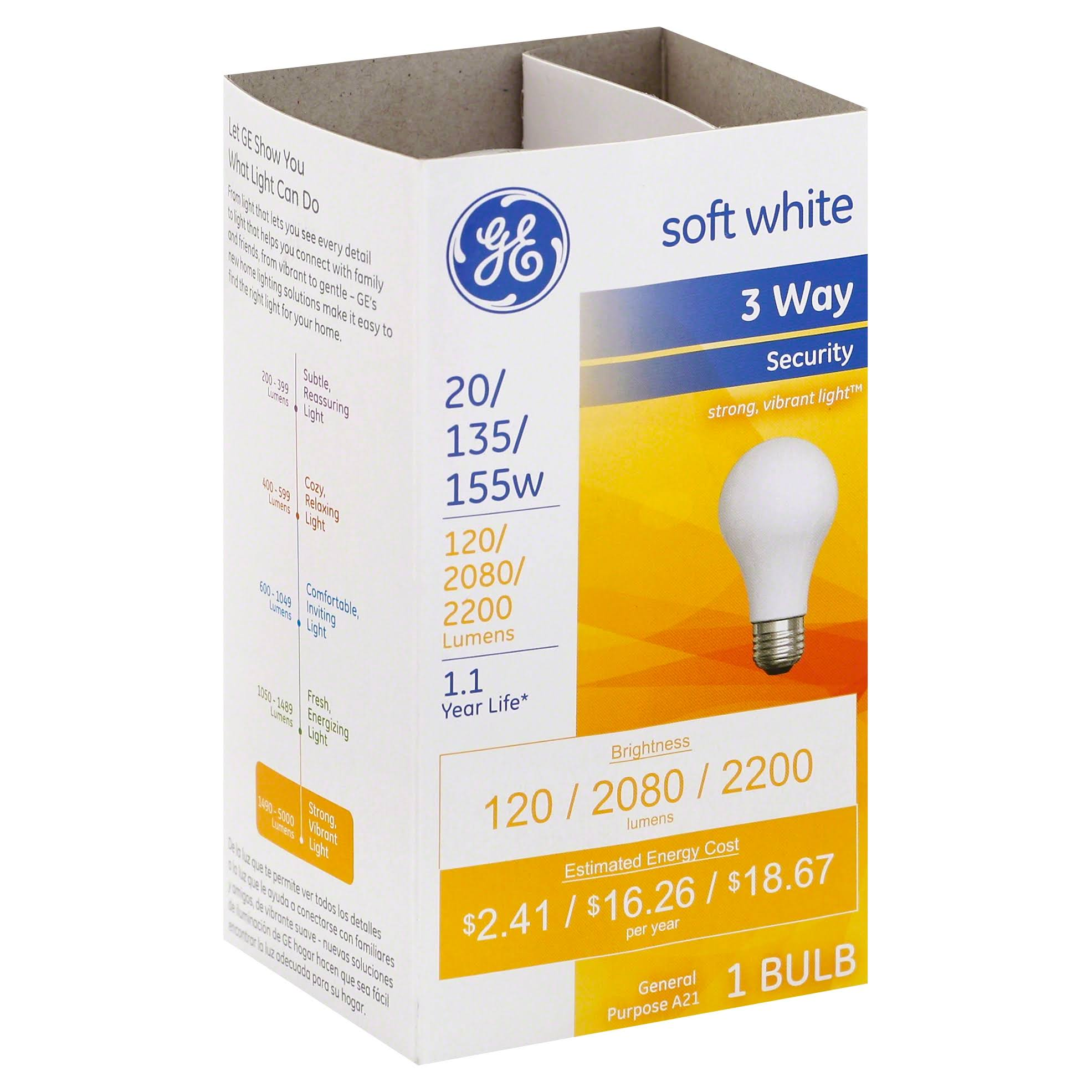 GE A21 Medium Base Incandescent Light Bulb - Soft White