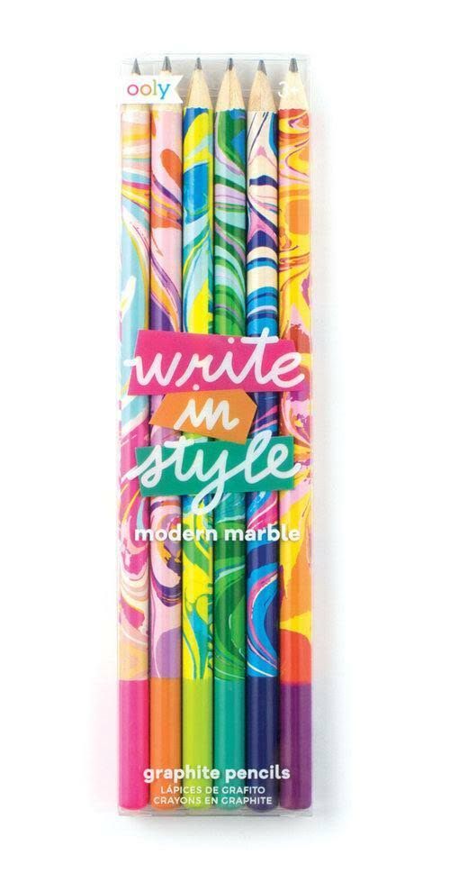 Ooly Write In Style Graphite Pencils - Modern Marble, Set of 6