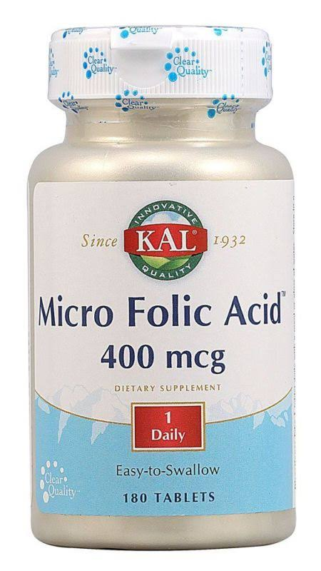 Kal Micro Folic Acid - 400mcg, 180 tablets