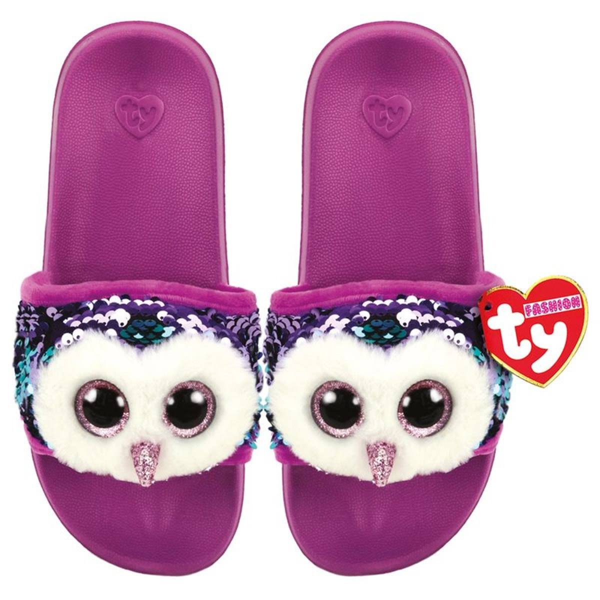 Large Ty Beanie Moonlight The Owl Sequin Pool Sliders