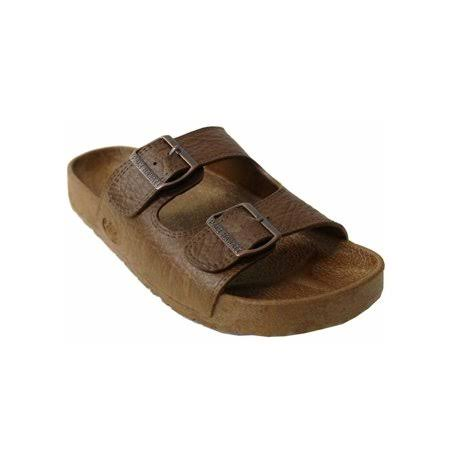 Pali Hawaii Unisex PH 438 Brown Buckle Slide Sandal (Brown 2 Tone;Size 8)