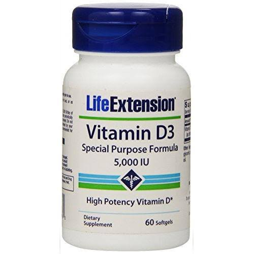Life Extension Vitamin D3, 125 mcg, Softgels - 60 softgels