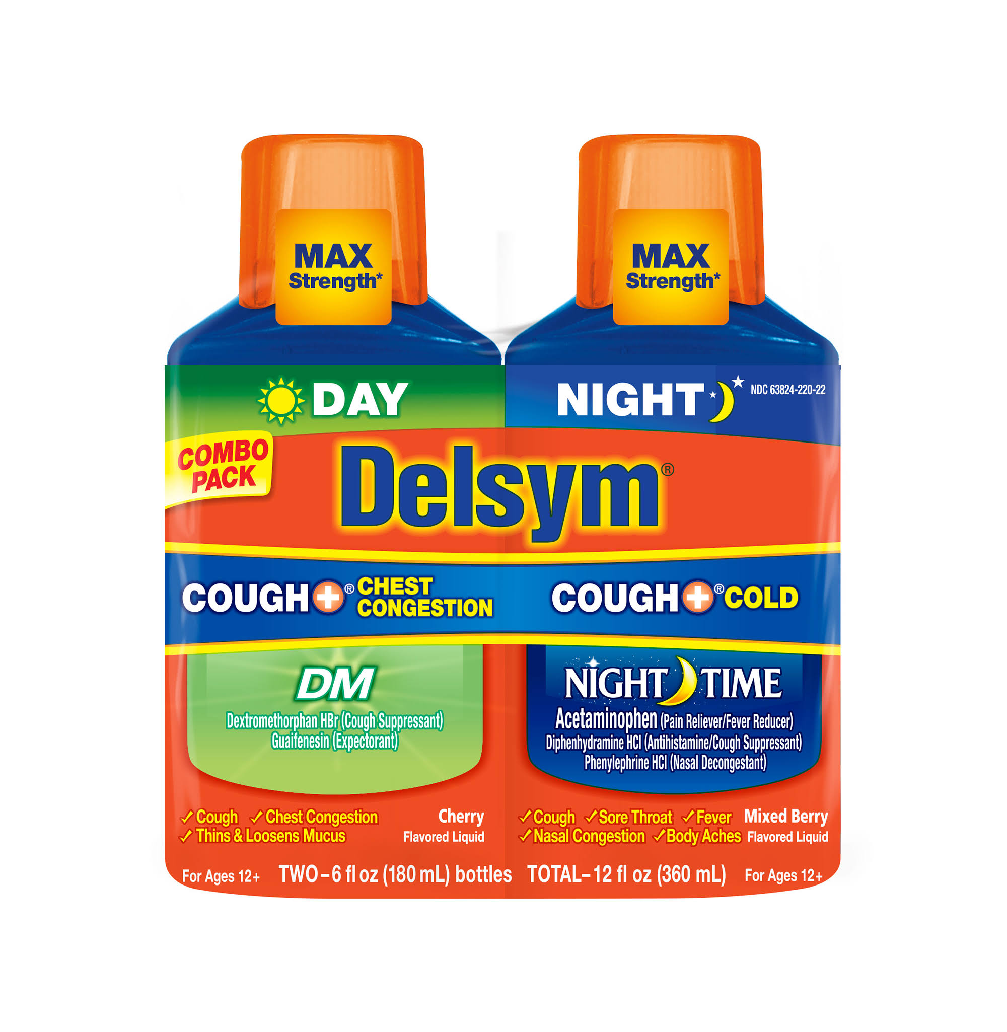 Delsym Cough + Congestion/Cough + Cold, Day/Night, Max Strength, Cherry Flavored Liquid/Mixed Berry Flavored Liquid, Combo Pack - 2 pack, 6 fl oz bottles