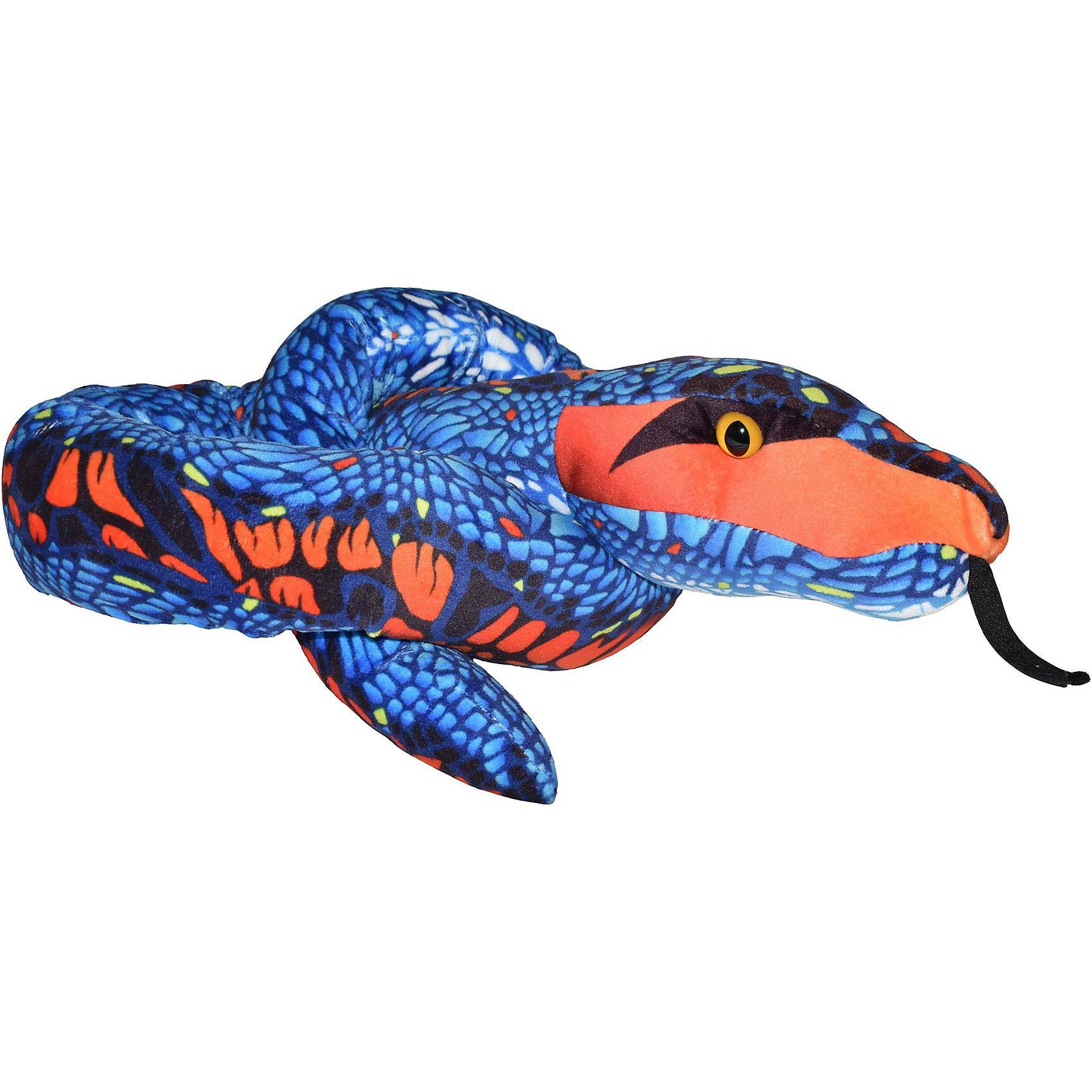 Orange Print 54 inch Plush Blue Snake by Wild Republic