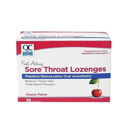 Quality Choice Sore Throat Cherry Flavored Fast Acting Lozenges 18 Each