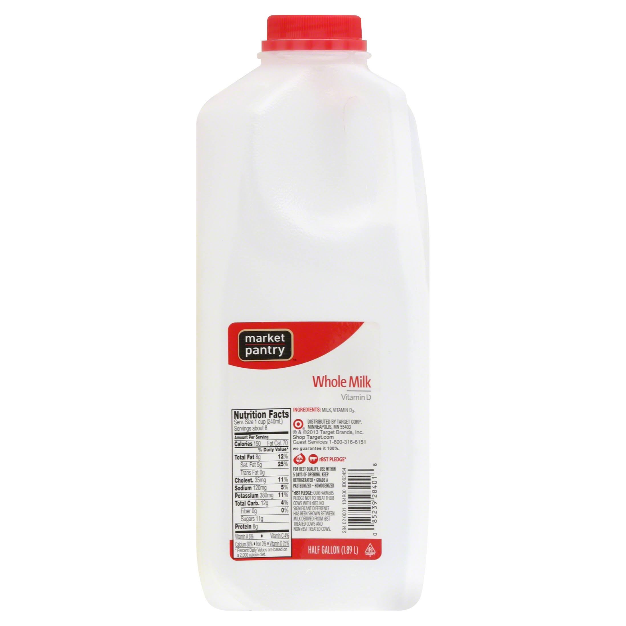 Market Pantry Milk, Whole - 0.5 gl (1.89 lt)
