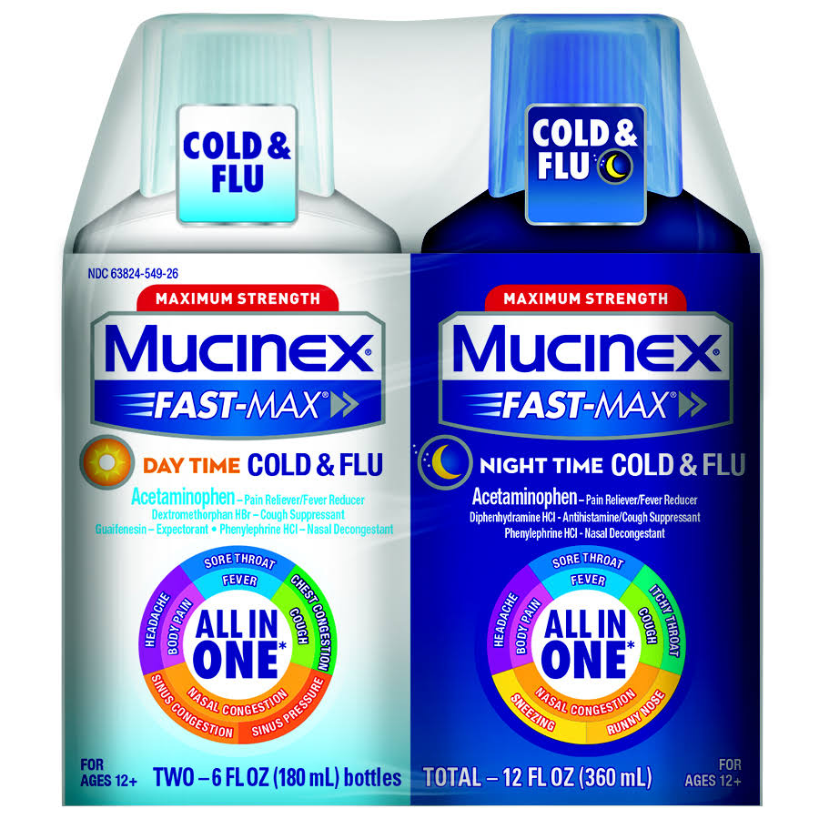 Mucinex Fast-Max Day and Night Severe Cold & Flu Liquid - 540ml