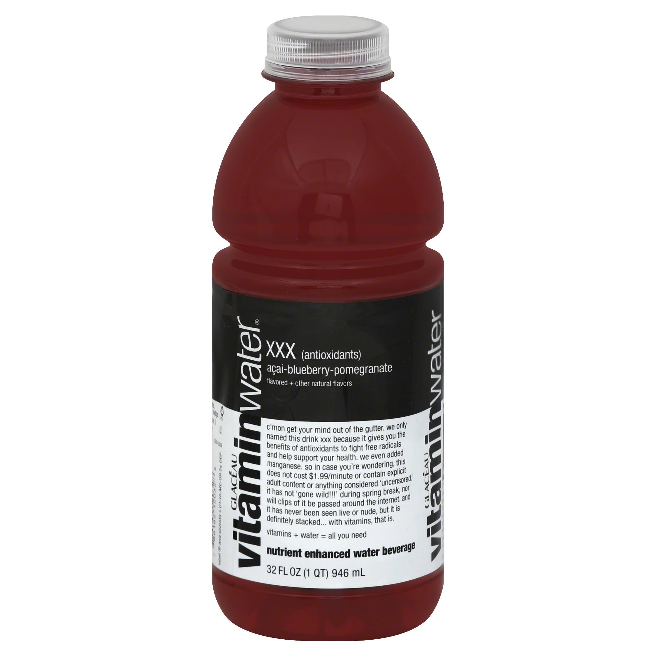Vitamin Water Water Beverage, Nutrient Enhanced, XXX, Acai-Blueberry-Pomegranate - 32 fl oz