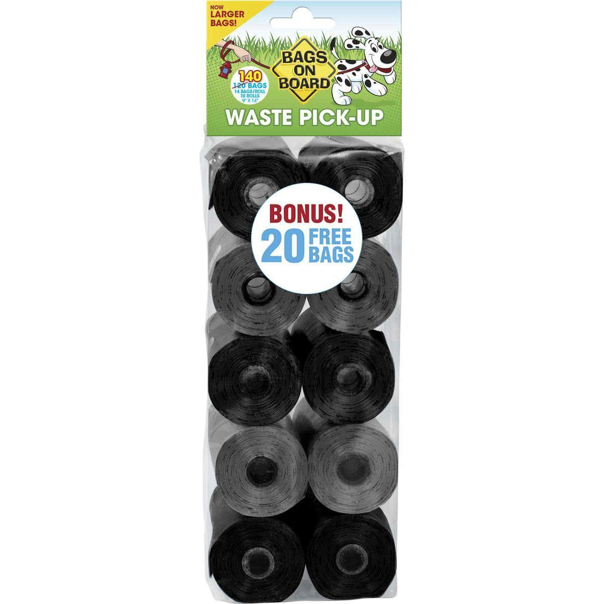 Bags on Board Waste Pick-Up Refill Bags - 140 Count, Black and Grey