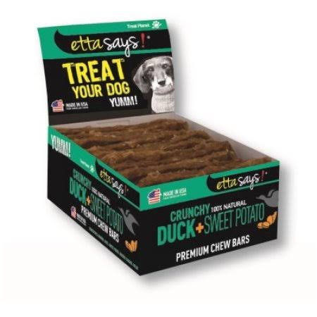 Etta Says Natural Dog Treats - Crunchy Duck and Sweet Potato Premium Chew Bars, 12pk