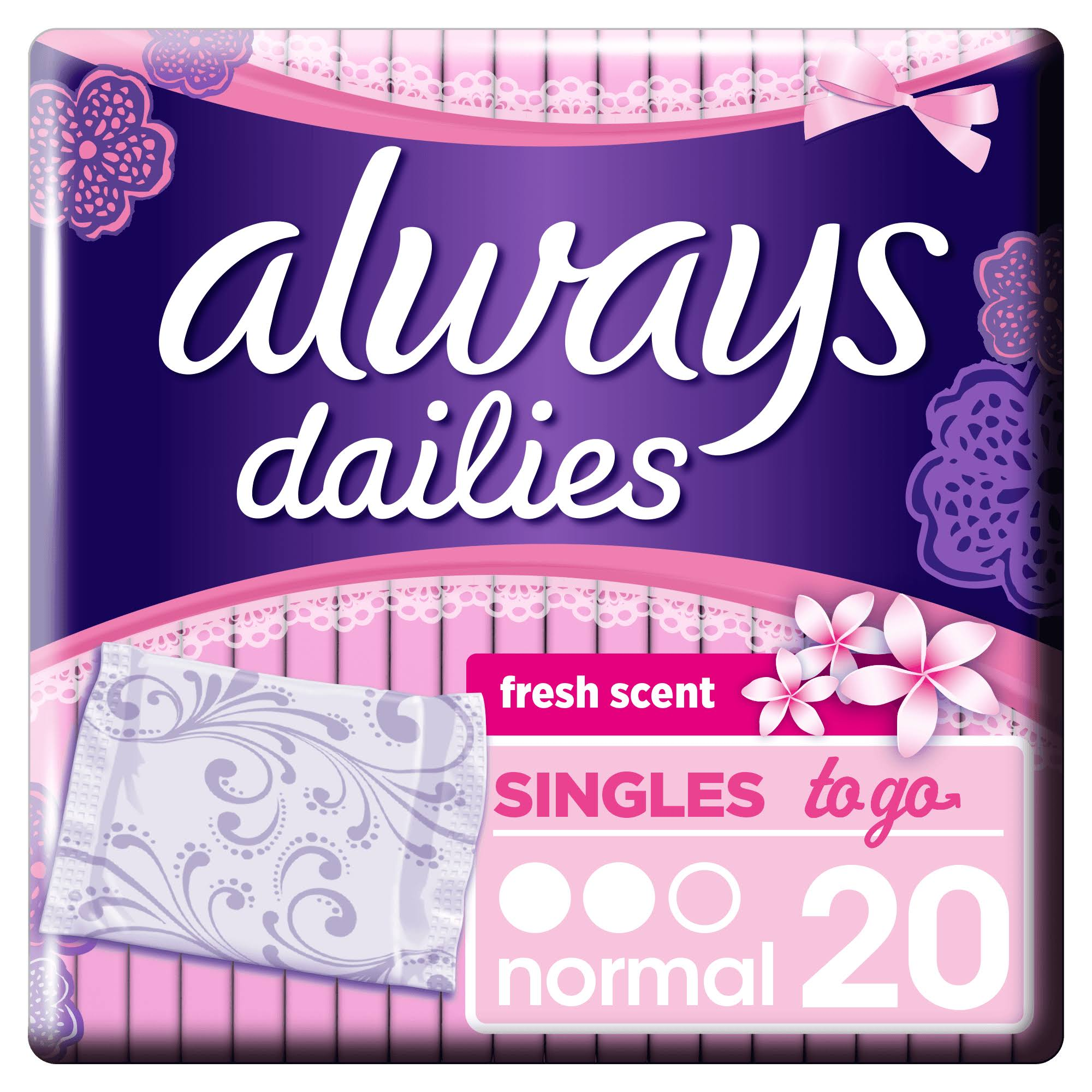Always Dailies Singles To Go Panty Liners - Fresh Scent, 20pk
