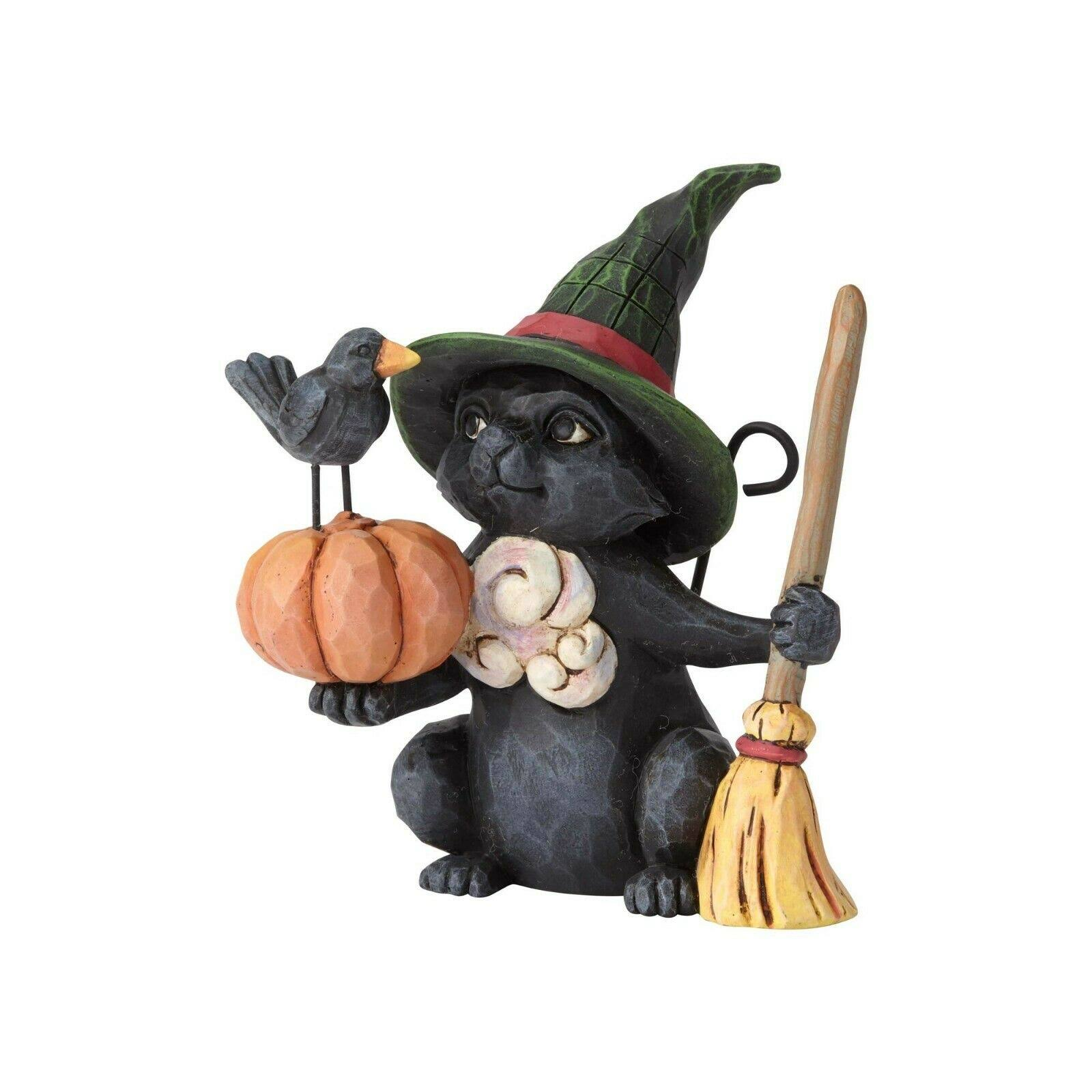 Jim Shore Halloween Mini Witch Cat with Pumpkin 6001551