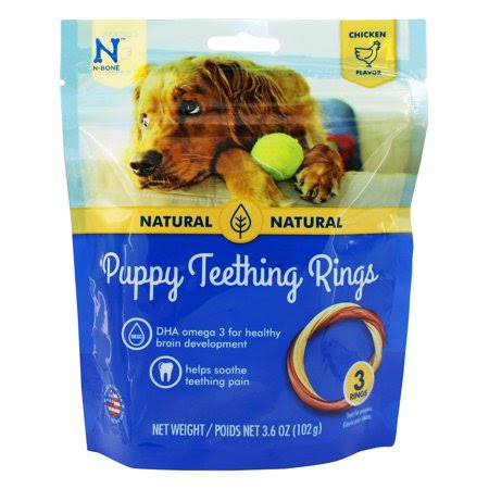 N-Bone Puppy Teething Ring Dog Chew - Chicken Flavor, 3 Pack