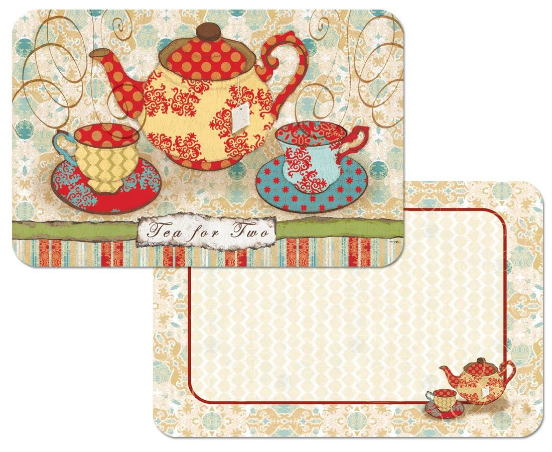 Counterart 4 Reversible Washable Plastic Placemats, Tea Party