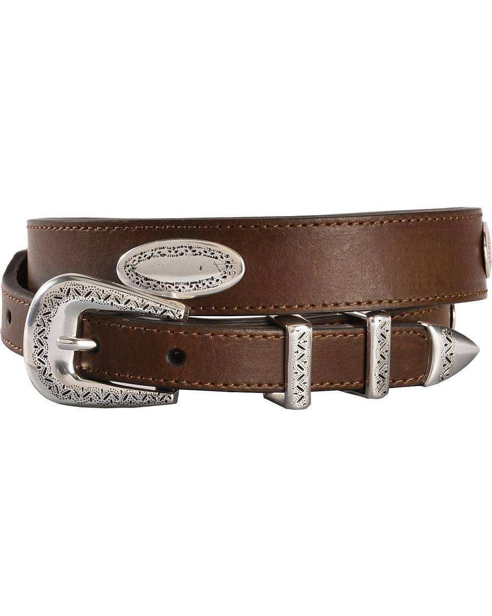 Nocona Men's Top Hand Tapered Oval Conchos Belt - Brown