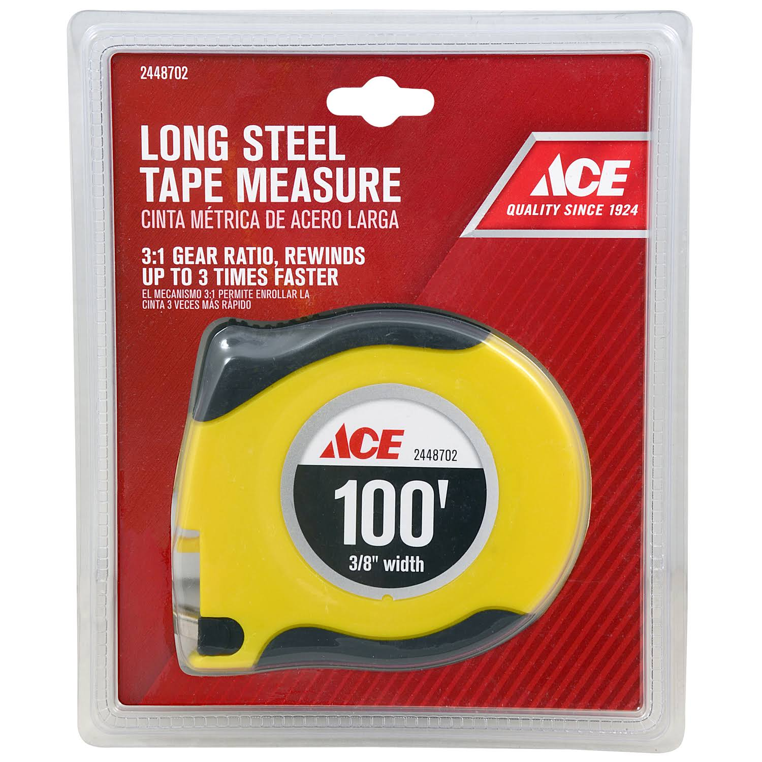 Ace 2448702 100 ft x 0.375 in. Tape Measure Yellow 1 Pk