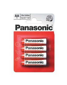 Panasonic AA Zinc Carbon Batteries - 1.5V, 4pk