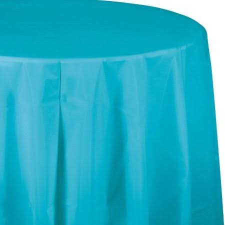 "Creative Converting Octy-Round Plastic Table Cover - 82"", Bermuda Blue"