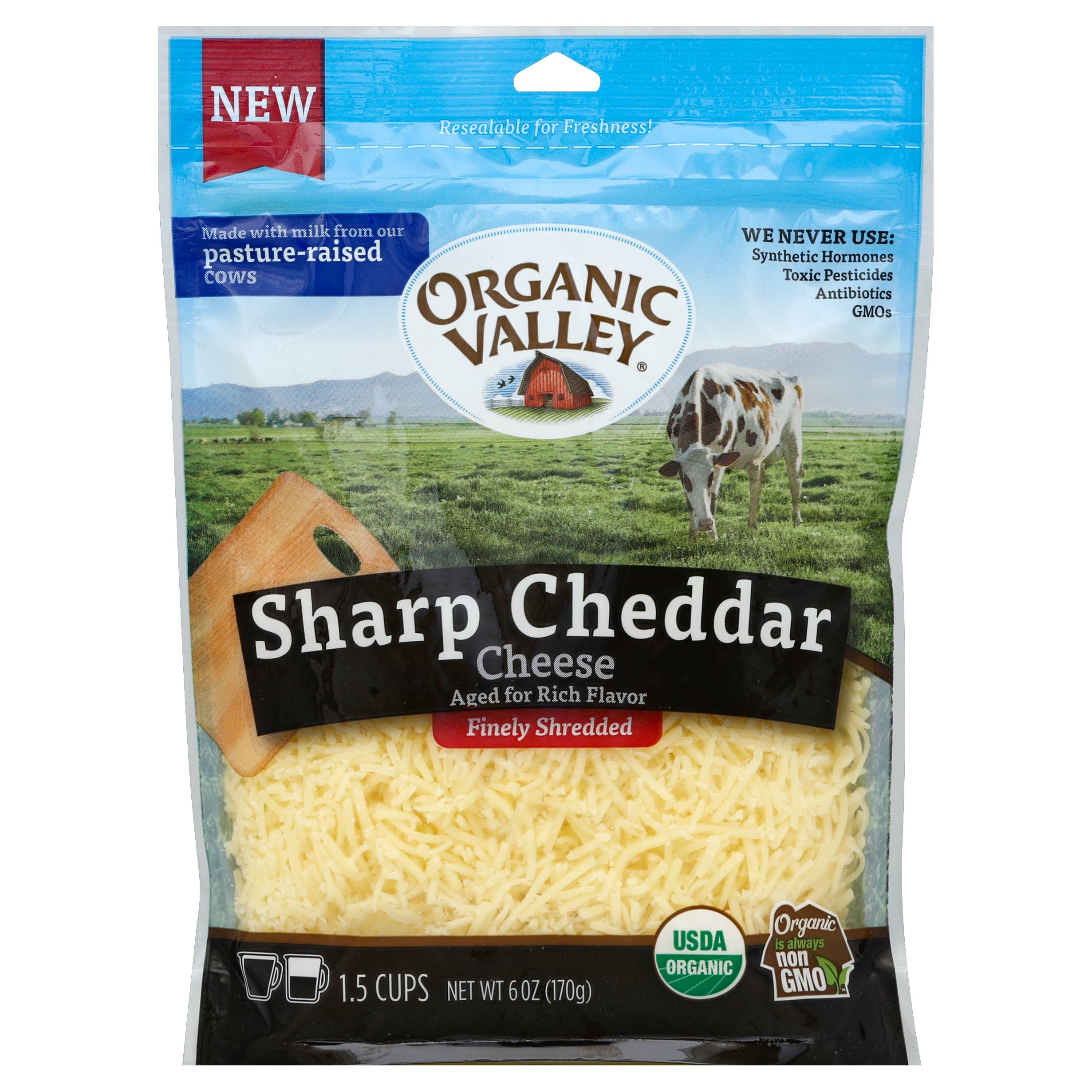 Organic Valley Cheese, Finely Shredded, Sharp Cheddar - 6 oz