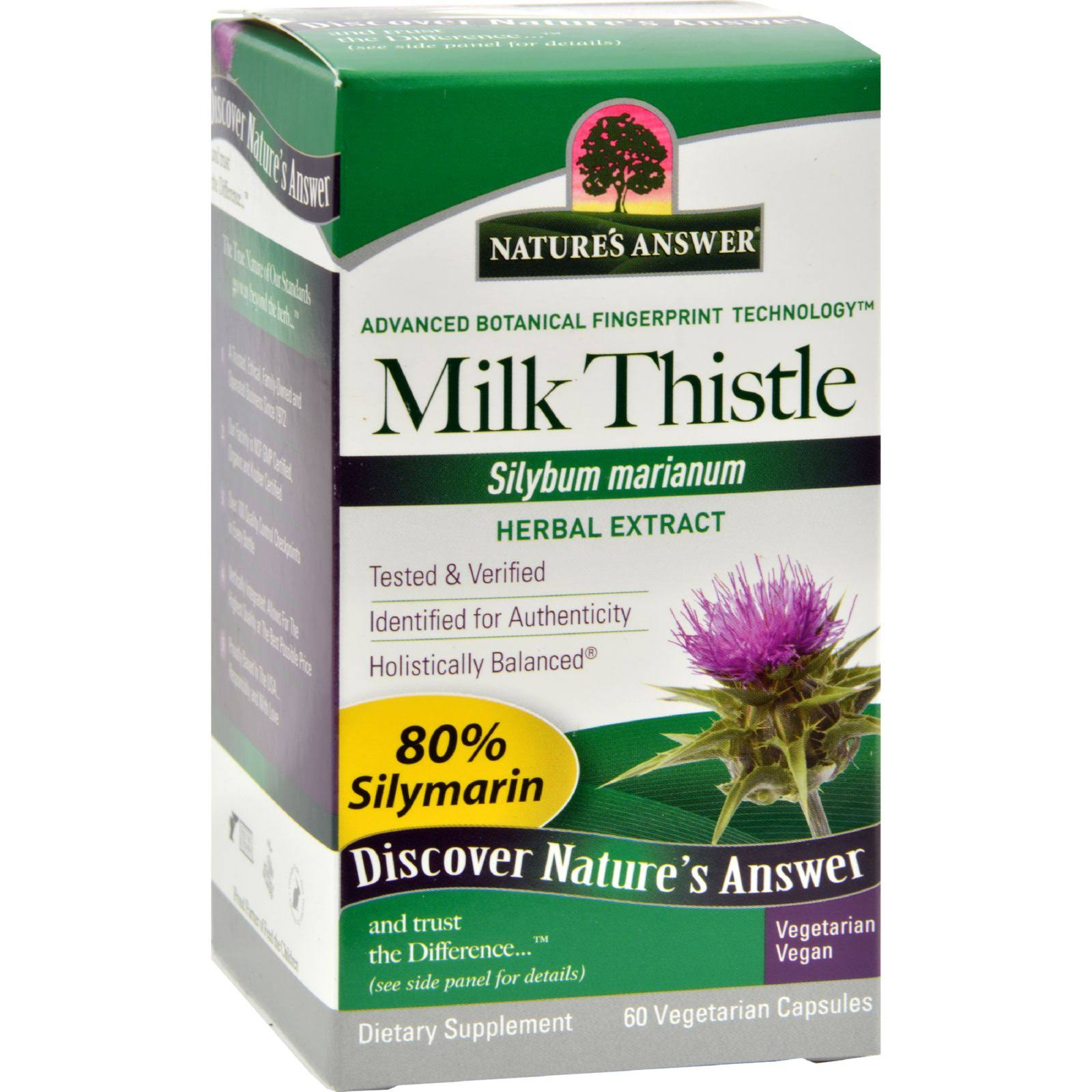 Nature's Answer Milk Thistle Seed Extract Vegetarian Capsules - x60