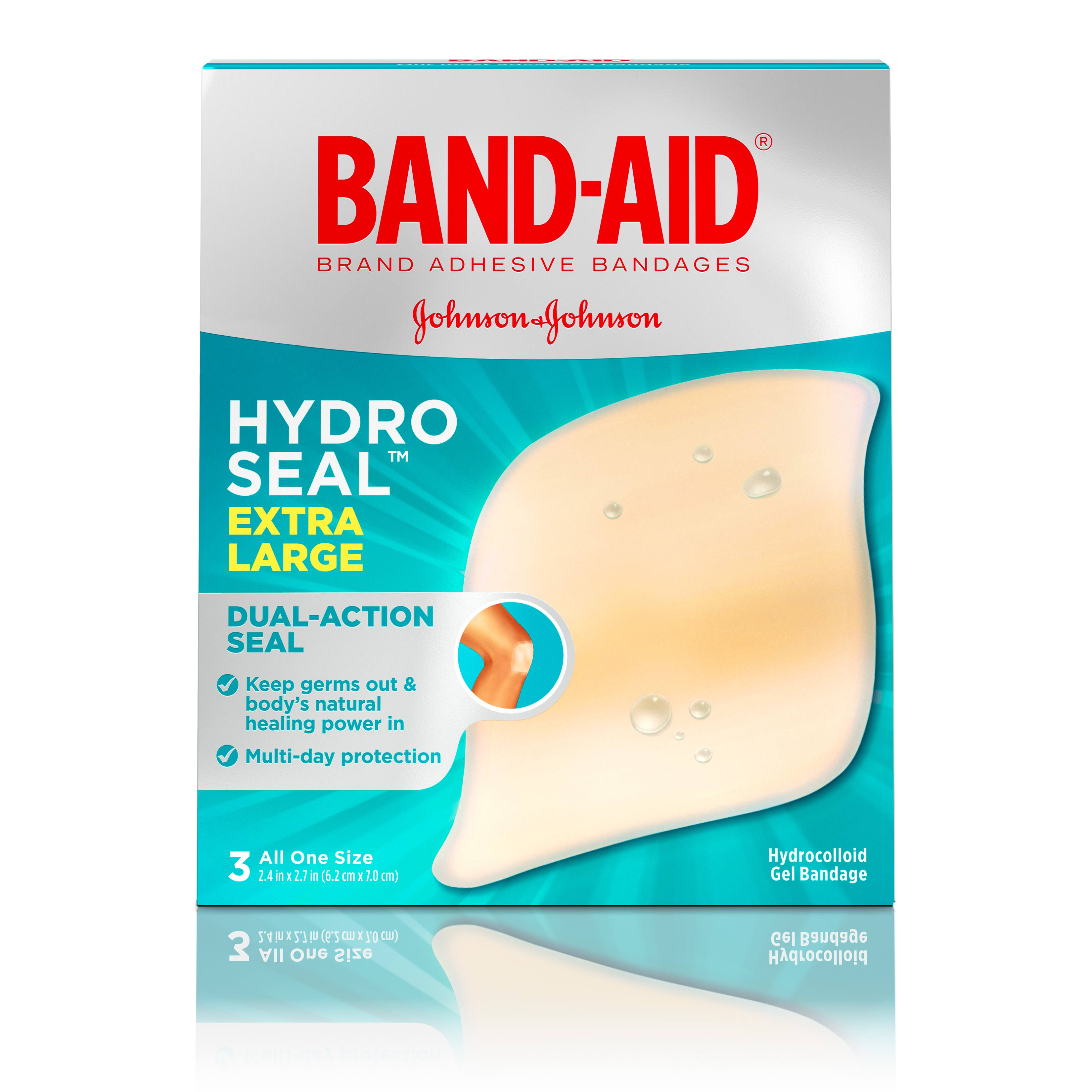 Band Aid Hydro Seal Bandages, Adhesive, Extra Large - 3 bandages