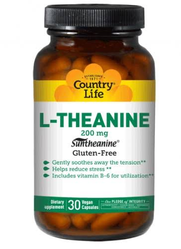Country Life L-Theanine Supplement - 30 Vegan Capsules, 200mg
