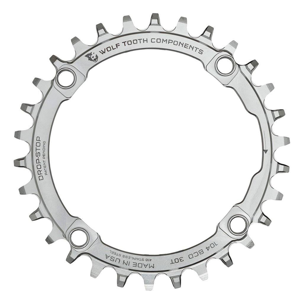Wolf Tooth Components Drop-stop Chainring - 104 BCD, 30t, Stainless