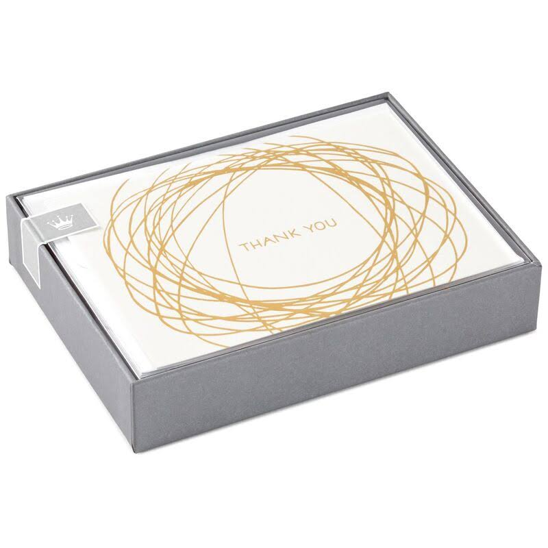 Gold Scribble Thank You Notes, Box of 10