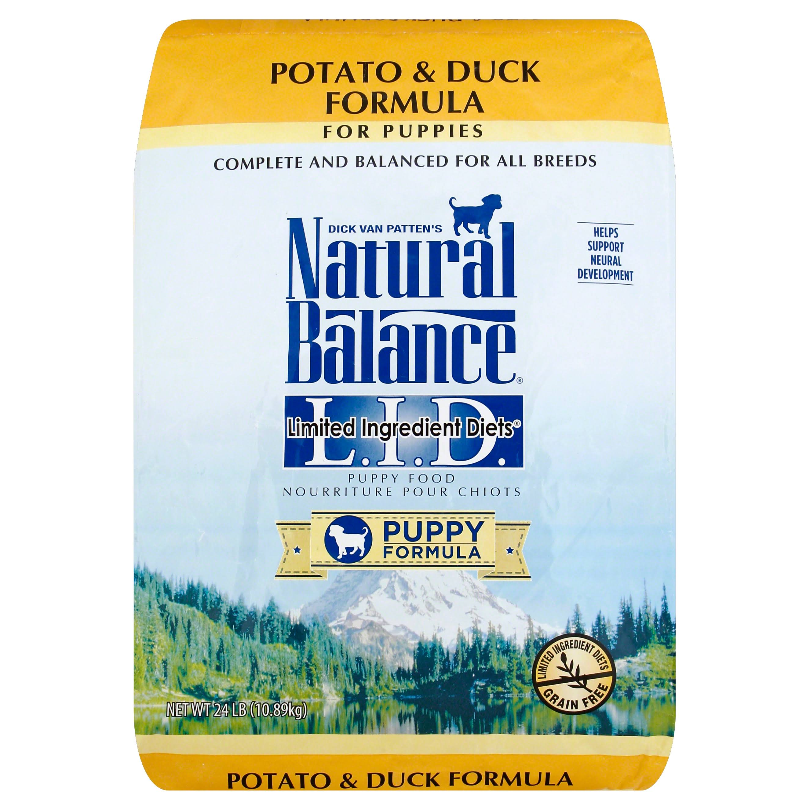 Natural Balance Lid Dry Dog Food - Potato & Duck Puppy Formula, 24lbs
