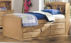 wooden twin size platform bed with drawers and cabinet storage
