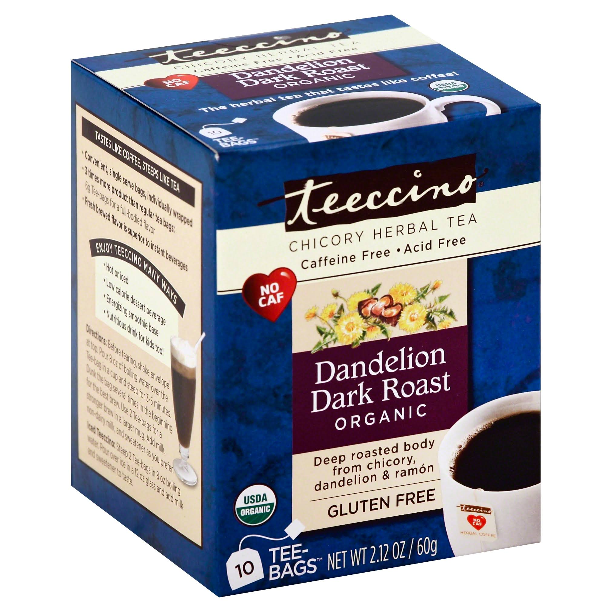 Teeccino Herbal Coffee - Dandelion Dark Roast, 60g