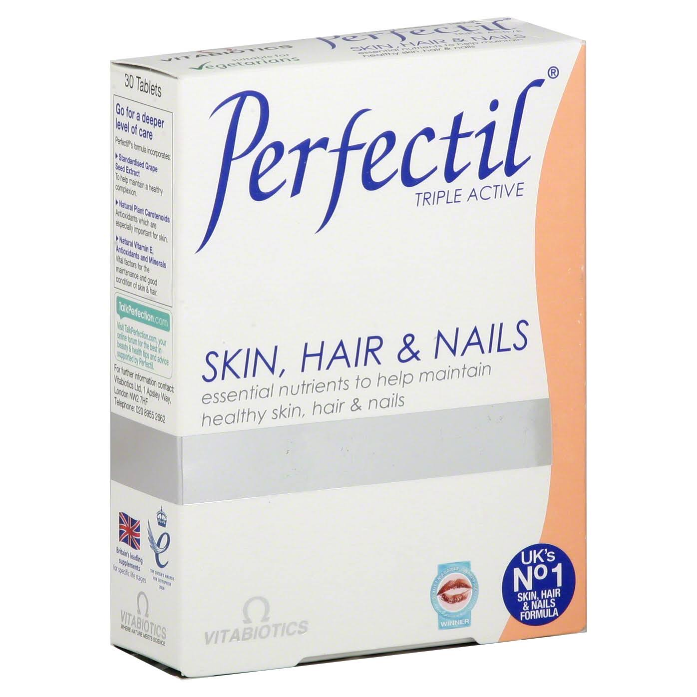 Vitabiotics Perfectil Triple Active Healthy Skin Hair and Nails Dietary Supplement - 30ct