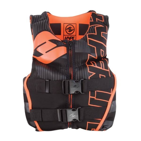 Hyperlite Youth Indie Neo Life Vest - Black and Orange, Youth Small