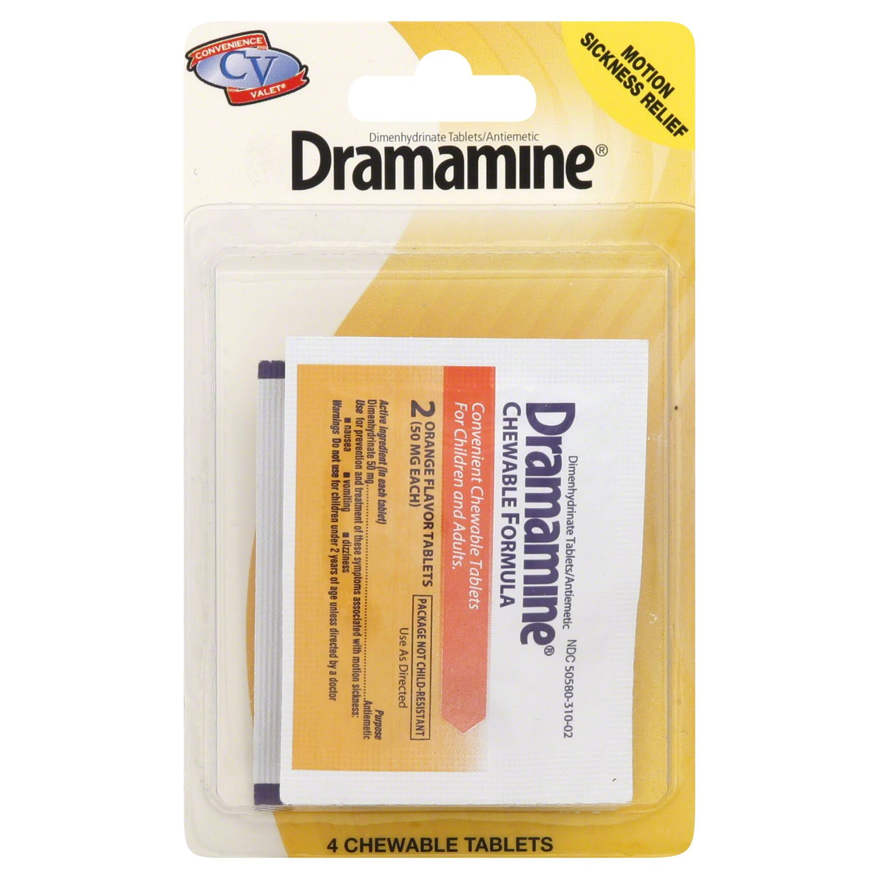Dramamine Motion Sickness Relief, Chewable Tablets, Orange Flavor - 4 tablets