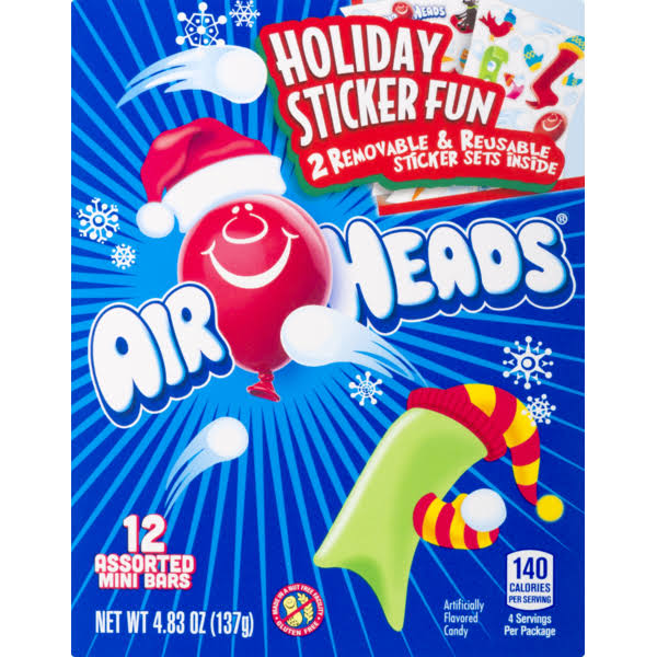 Airheads Holiday Sticker Fun Assorted Mini Bars - 12ct
