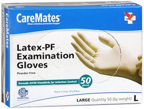 Caremates Latex-Pf Examination Gloves - Large, 50ct