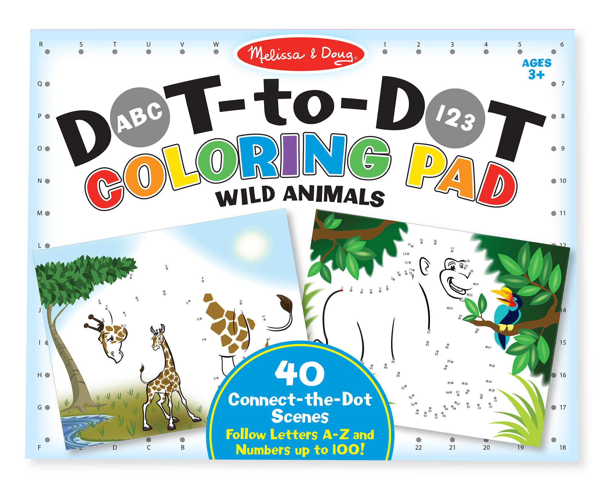Melissa and Doug Abc 123 Dot-to-dot Coloring Pad - Wild Animals