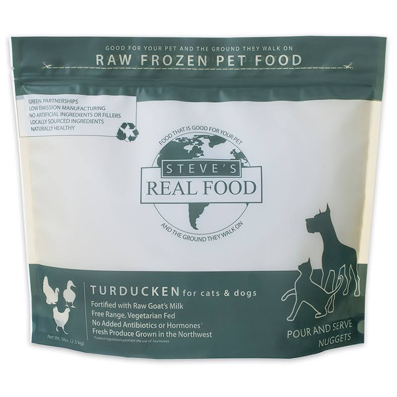 Steves Real Food 84515304 5 lbs Turducken Nuggets for Dog & Cat Food