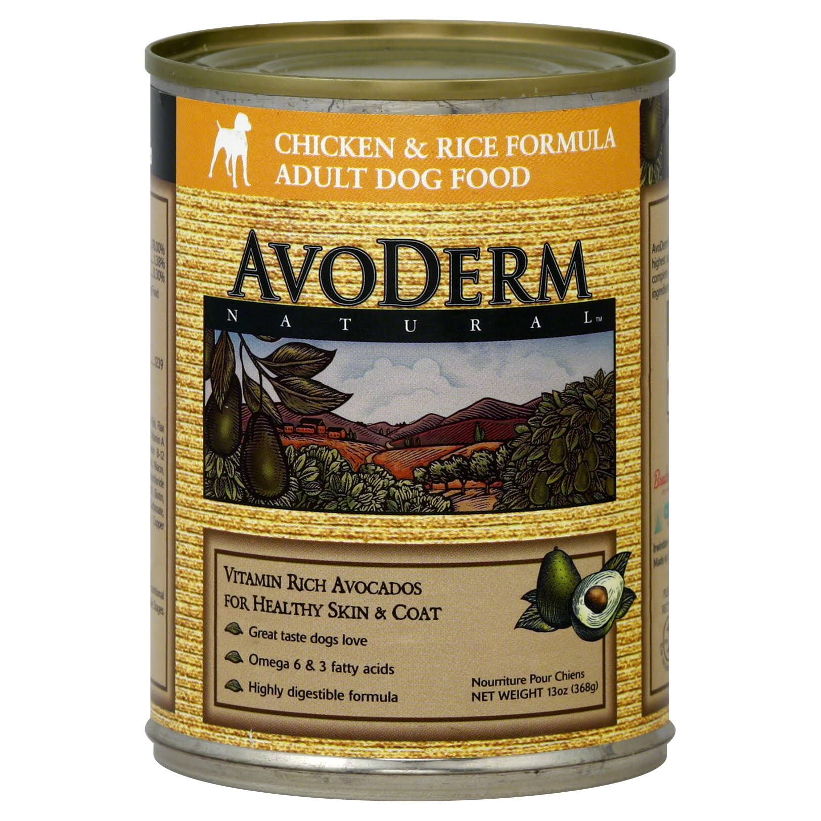AvoDerm Natural Canned Dog Food - Chicken Meal & Rice Formula, 13oz