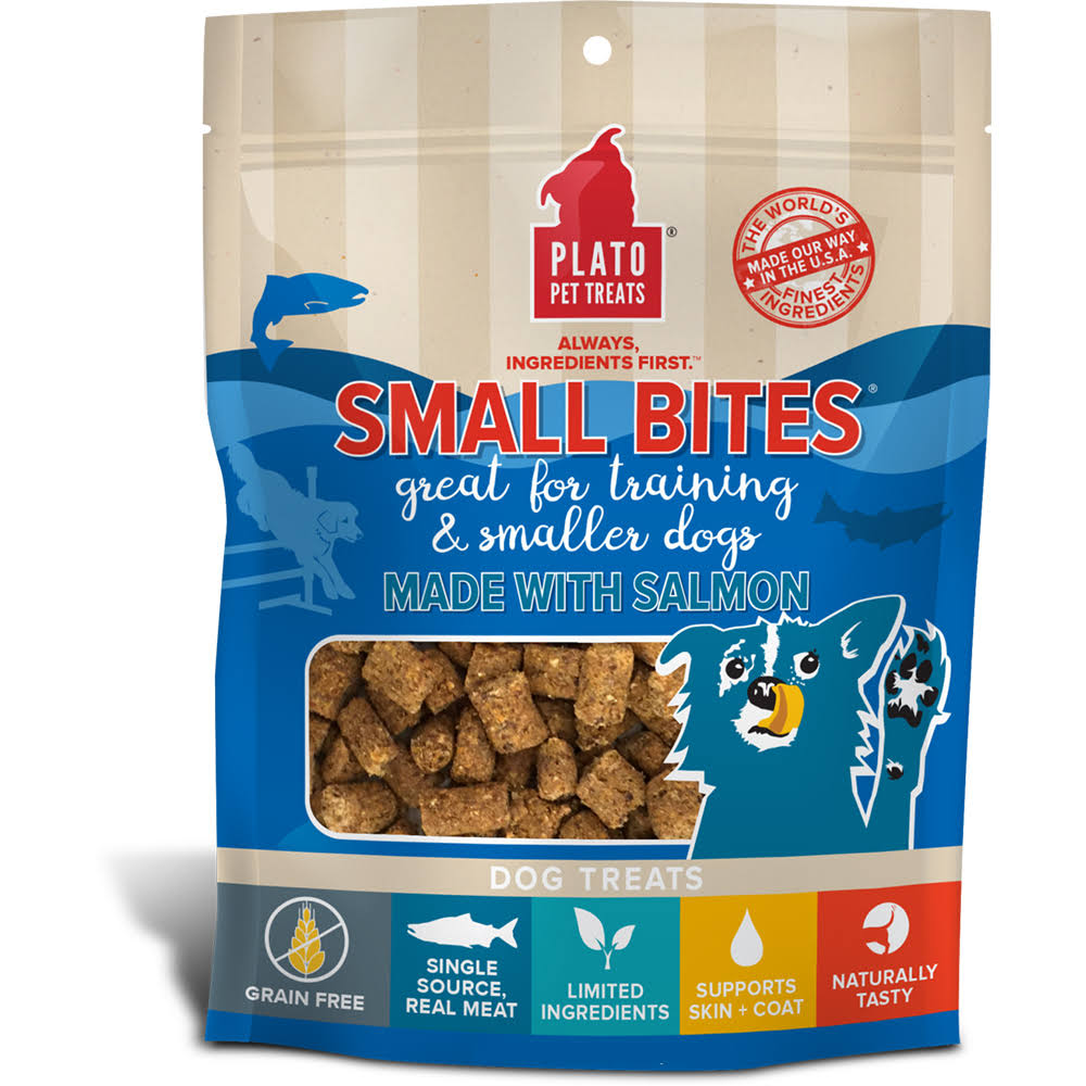 Plato Small Bites Dog Treats, 6 oz, Salmon
