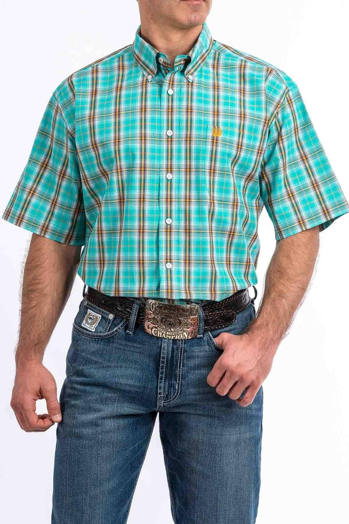 Cinch Men's Turquoise Plaid Short Sleeve Western Shirt