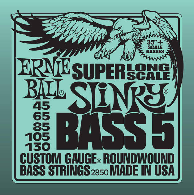 Ernie Ball 5-String Super-Long Scale Slinky Bass Set - .045 to .130
