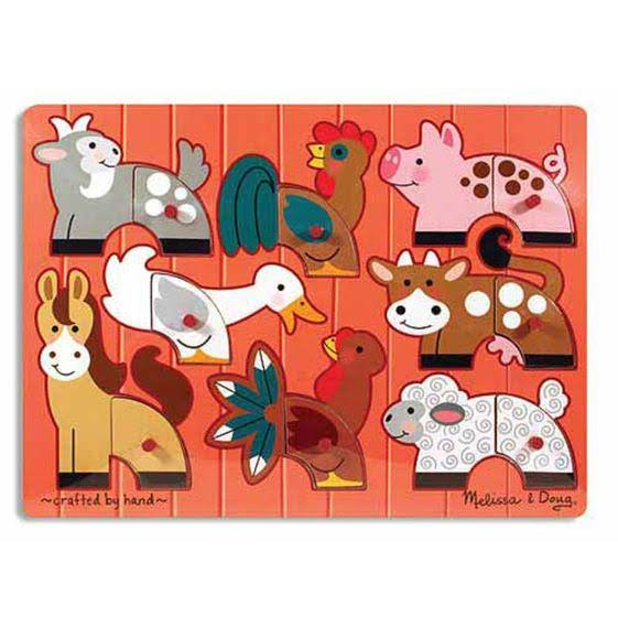Melissa and Doug Farm Animals Mix N Match Wooden Peg Puzzle - 8pcs