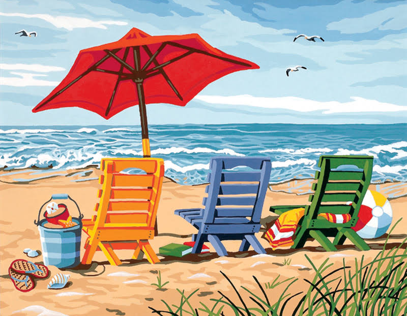 Paint By Number Kit Beach Chair Trio - 36cm x 11""
