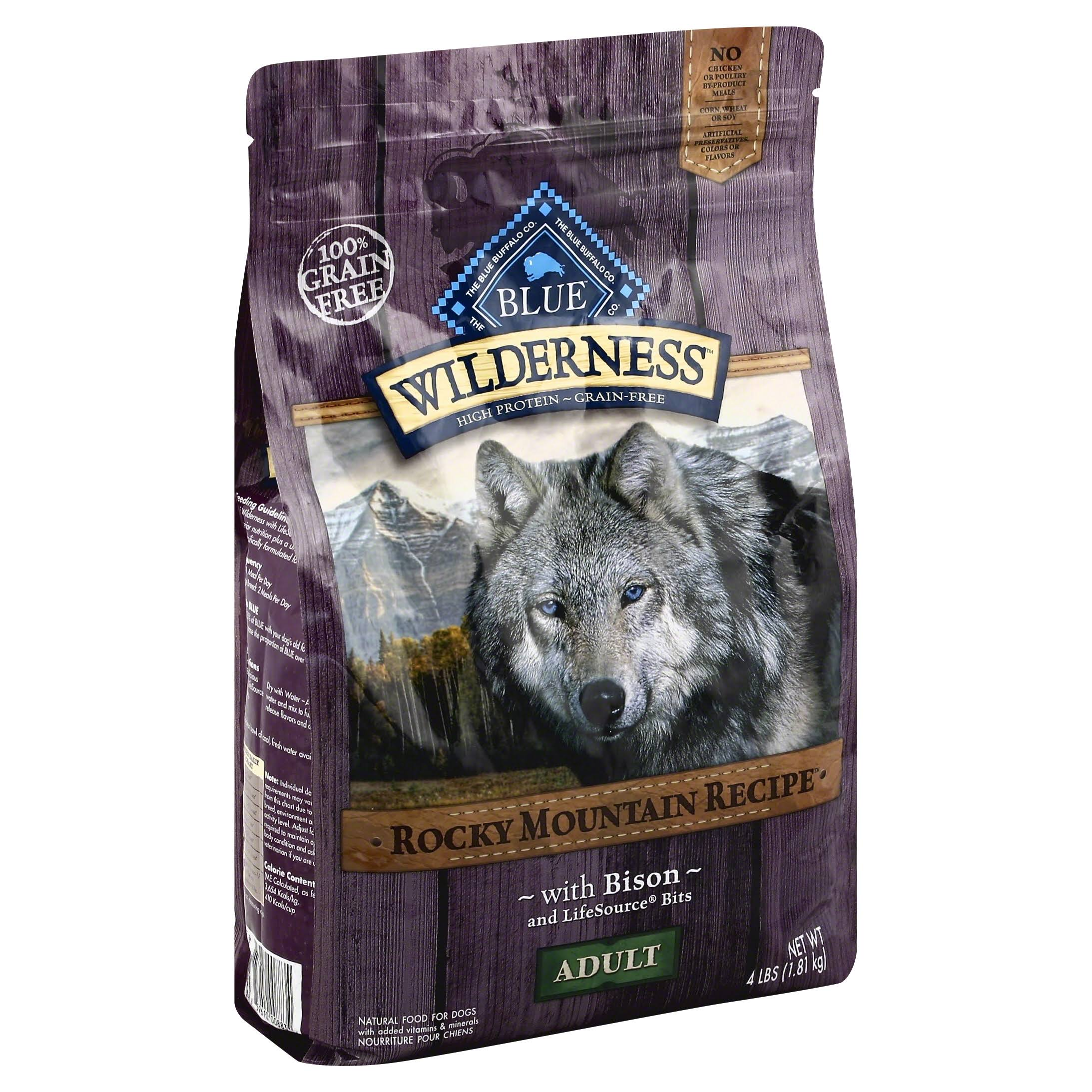 Blue Buffalo Wilderness Adult Dog Food - Rocky Mountain Recipes with Bison, 4lbs