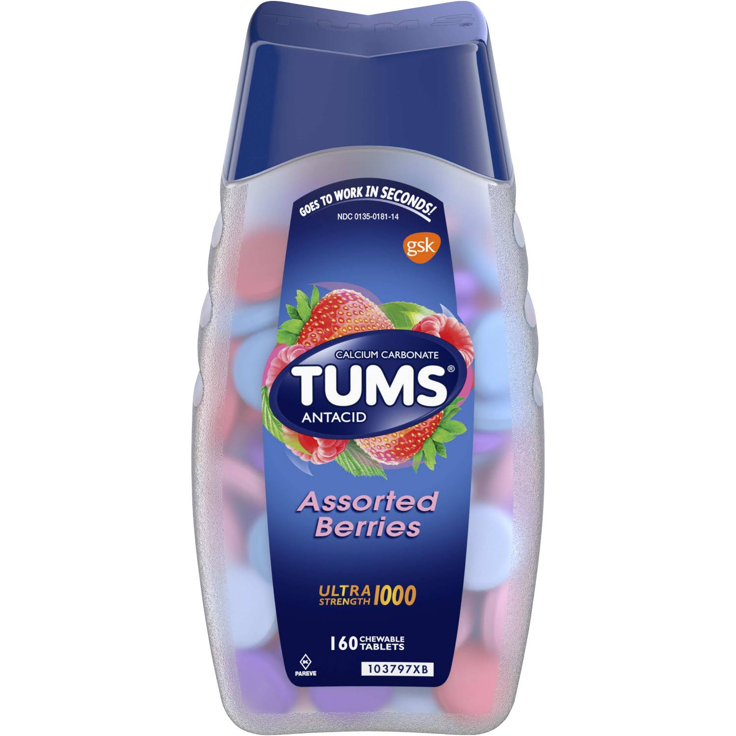 Tums Ultra Maximum Strength Antacid Relief Chewables - Assorted Berries, 160 Count