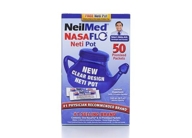 Neil Med Nasa Flo Plastic Neti Pot - with 50 pre mixed packets