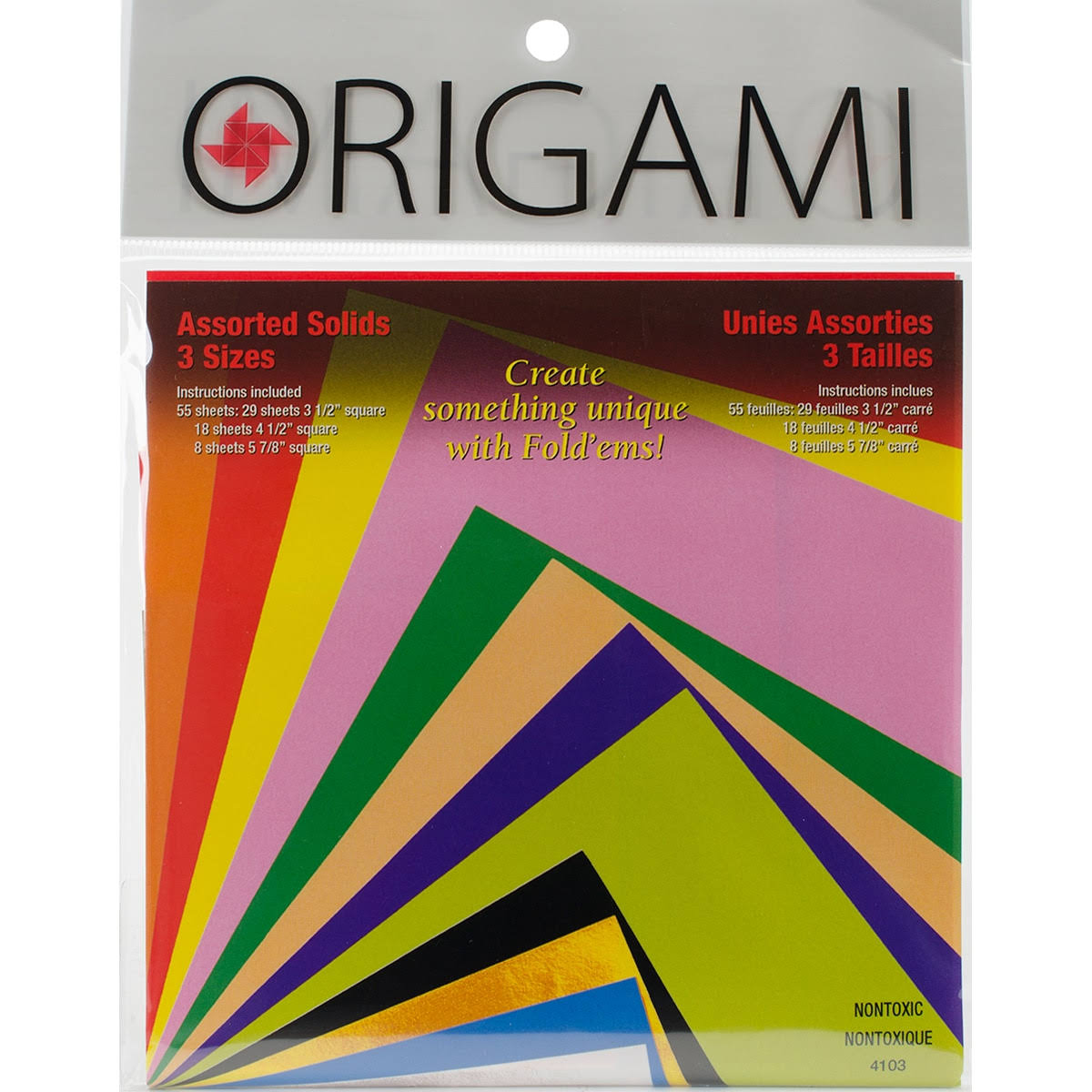 Yasutomo Fold 'Ems Origami Paper - 55 Pack, Assorted Colors